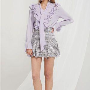 Tweed Frayed Skirt Purple - Storets